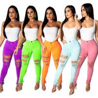 jeans teñidos anudados para mujer al por mayor-5 colores de moda flaco cut up destruidos jeans 2XL verano de cintura alta rasgado agujero pantalones más tamaño XXL pantalones para mujeres