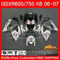 carenado de la suerte al por mayor-Cuerpo para SUZUKI GSX R600 GSX-R750 GSXR-600 Lucky blanco CALIENTE GSXR600 06-07 8HC.59 GSX R750 GSXR 600 750 06 07 K6 GSXR750 2006 2007 Juego de carenado