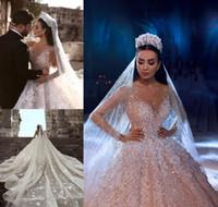 beading vestido de noiva da princesa venda por atacado-2019 princesa vestido de noiva de luxo africano árabe dubai manga comprida beading igreja vestido de noiva formal plus size custom made