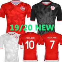 jérseis de futebol nacionais personalizados venda por atacado-19 20 Tunísia equipe nacional de Futebol 7 Msakni 10 Khazri 23 Sliti Wahbi Khaoui Fakhreddine BEN YOUSSE HAMZA futebol feito sob encomenda vermelho da camisa