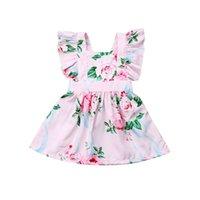 vestido de algodón bebé al por mayor-Cute Toddler Baby Girls Princess Dress Girl Ropa de algodón Chica Floral Ruffle Fly manga Sundress Vestidos sin espalda A-Line 0-24M