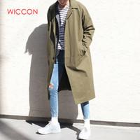 plus größe japanischen stil großhandel-Herren Trenchcoat 2019 Fashion Long Windbreaker Herbst Winter Einreiher Winddicht Mantel Plus Size Japanese Style