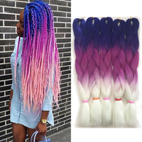 Wholesale prices for ombre hair resale online - Price Ombre Synthetic Kanekalon Braiding Hair For Crochet Braids False Hair Extensions Best Quality High Temperature Fiber Crochet