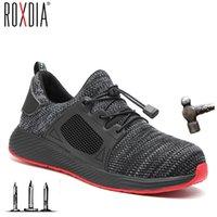 luces de seguridad al por mayor-Nuevos hombres puntera de acero zapatos de trabajo de seguridad zapatillas de deporte de peso ligero cómodas botas masculinas al aire libre respirable del zapato ROXDIA marca RXM168