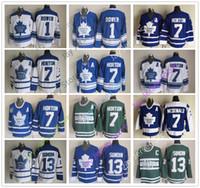 chandail de hockey tim horton achat en gros de-Hockey sur glace Jersey des Maple Leafs de Toronto CCM Old Time 1 Johnny Bower 7 Tim Horton 13 Mats Sundin