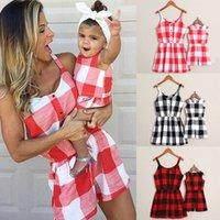kadın giysileri uk toptan satış-UK Aile Giysiler Kadınlar Kız Anne ve kızı Ekose Romper Jumpsuit Eşleştirme