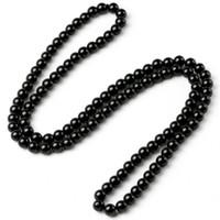 contas de pedras de ônix colares venda por atacado-Handmade Preto Brilhante Onyx Natural Pedra De Energia Beads Nó Longo Colar Para Mulheres Dos Homens Sorte Unisex Jóias New Arrivals