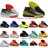 Wholesale cr7 indoor high top shoes for sale - Group buy 2018 mens high top quality soccer cleats Mercurial SuperflyX VI CR7 Neymar Elite IC indoor soccer shoes Superfly football boots ankle