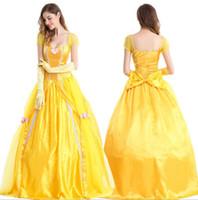 anime weibliche kleider großhandel-Mode Kostüme Frauen Erwachsene Belle Kleider Party Phantasie Mädchen Blume Gelb Lange Prinzessin Kleid Weibliche Anime Cosplay schneewittchen Kleid