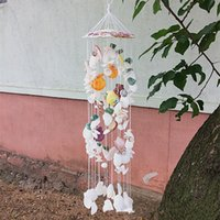 ingrosso ciondoli colorati-Pure Natural conchiglia ornamenti Hanging colorato pendant Ocean Wind Chime parete della decorazione della casa del partito degli accessori da regalo FFA3012
