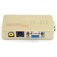 prise vidéo pc achat en gros de-Convertisseur vidéo vers convertisseur VGA Convertisseur PC / TV La conversion des signaux VGA en vidéo / S Video Signals.Eu Plug