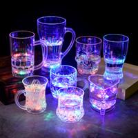 liderliğindeki bira kupaları toptan satış-LED Parti Işıkları Kare Renk Değiştirme LED Bira Kupa Bar Parlayan Kupa Yanıp Sönen Yanıp Yenilik Parti Kaynağı