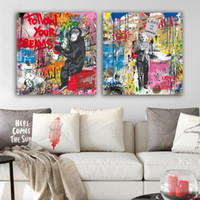 Wholesale rooms pictures resale online - Street Wall Graffiti Art Canvas Painting Abstract Banksy Art Prints Cartoon Poster Modern Living Room Wall Picture Pop Decor