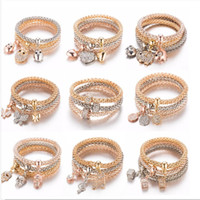 Wholesale elephant mix resale online - Sets mixed Owl Crystal Heart Bracelet Gold Silver Rose Elephant Anchor Pendant Female Rhinestone Bracelet