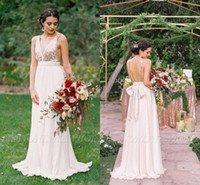 Wholesale champagne dress train resale online - Sparkly Rose Gold Sequins Long Bridesmaid Dresses Summer Beach A Line Chiffon Deep V Neck Backless Maid Of Honor Gowns BC2102