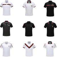 siyah beyaz çizgili tişörtler toptan satış-Marka Moda Lüks Tasarımcı Klasik erkek Arı Şerit T-Shirt Pamuk erkek Tasarımcı T-Shirt Beyaz Siyah Tasarımcı Polo Gömlek erkek M-3XL