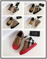 eu taille 34 chaussures achat en gros de-BURBERRY l'UE 24-34 Nouvelle marque de chaussures de toile pour enfants à la mode - chaussures basses pour garçons et filles chaussures de sport en toile et baskets pour enfants