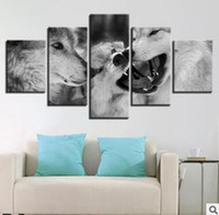 Wholesale wolf landscape paintings resale online - Wall Art Canvas Pictures Panels Modern Animal Wolves No Frame Painting Canvas Art Wall Picture For Bed Room Unframed