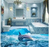 ingrosso vernice di piastrelle da bagno-3D Ocean Underwater World Dolphin Bathroom Floor Pittura piastrelle decorative
