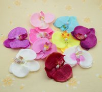 Wholesale blue orchid home decor for sale - Group buy 12pcs artificial plants flower for christmas wreath home wedding decor accessories fake orchid DIY a cap gifts Silk Phalaenopsis