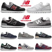 zapatos negros para correr con descuento al por mayor-New Balance Zapatillas con descuento 574 para hombres, mujeres, vino negro, azul, gris, al aire libre, para hombre, formadores, trotar, caminar, correr, zapatillas deportivas