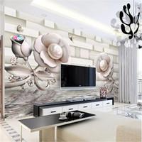 обои для рабочего стола оптовых-Пользовательские обои 3D Розовая вода волна отражение Гостиная Спальня фон стены украшения настенной росписи обои