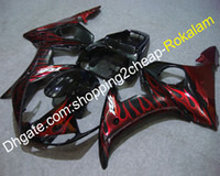 kit de carenado yamaha r6 race al por mayor-Carcasa de plástico ABS negro YZF600R6 05 Kit de carrocería para Yamaha YZF 600 R6 2005 Race Bike Red Flame Fairings (moldeo por inyección)