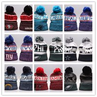 Wholesale purple yellow sports hats for sale - Group buy 2019 Newest Winter Beanie Knitted Hats Sports Teams Baseball Football Basketball Beanies Caps Women Men Pom Fashion Winter Top Caps