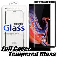 temperli gözlük samsung toptan satış-Iphone XS Max XR X 8 için Tam Kapak Kavisli Temperli Cam Samsung S10E S10 S8 S9 Artı LG V40 Ekran Koruyucu Gözlük