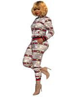 trajes de moda para mujeres al por mayor-Euramerican Otoño Mujer Chándal Rayas Impresión de paneles Chaqueta de manga larga + pantalones moda Mujeres Conjunto de dos piezas Traje de jogging