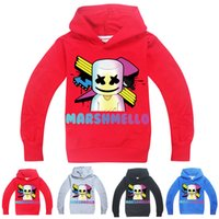 maskierter hoodie großhandel-DJ Marshmello Mask Music Hoodies 4 Farben 6-14y Kinder Jungen Cartoon Printed Hoodies Sweatshirts Kinder Designer Kleidung Jungen Kinder Kleidung FJ03