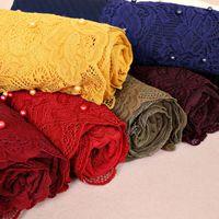 Wholesale pink black scarves resale online - Lace Scarf For Women New Fashion Elegant Muslim Hajabs High Quality Imitation Pearl Plain Cotton Scarves Wraps