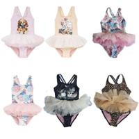 trajes de ballet al por mayor-Traje de baño para niñas Falda de ballet para bebés Traje de baño para niños Traje de baño para niña Traje de baño de Flower-Bird 100% Spandex 58