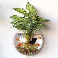 pez espejo al por mayor-23 cm espejo acrílico colgando de la pared maceta creativo pecera florero montaje en pared pet fish tank para la decoración casera