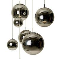 покрытые шариками украшения оптовых-Постмодернистский стеклянный шар кафе с одной головкой зеркало мяч пространство покрытие стекла люстра украшения круглые сферические северные лампы