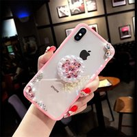 Wholesale rhinestone diamond cases for samsung phones for sale – best Luxury Diamond Rhinestone Pearl Phone Case With Kickstand For iPhone XR XS MAX X Plus