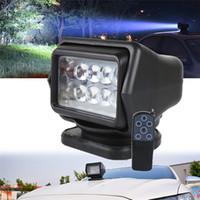 12v dc led luces de inundación al por mayor-360 grados de 7 pulgadas de control remoto LED Reflector luces de inundación 50W Girar la luz del proyector para el carro del camino SUV marina del barco luz de conducción