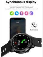 ıp68 cep telefonu toptan satış-L8 + Ücretsiz Hediye / set IP68 Su Geçirmez Kadın Erkek Kalp Hızı Akıllı İzle 1.22 Yuvarlak Ekran Çağrı hatırlatmak Için Smartwatch cep telefonu