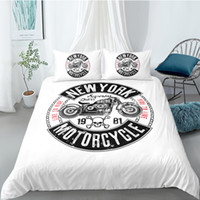 Wholesale skull bedding king for sale - Group buy 3 Pieces motorcycle Skull Duvet Cover with Pillow Cases D Bedding for boys Microfiber Quilt Cover with Zipper Twin Full Queen King