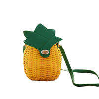 Wholesale fruit shaped cell phones for sale – best Fresh Pineapple Shape Bag Single shoulder Messenger Bag Fashion Pineapple Straw Woven Braided Beach Bags For Women