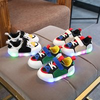 Wholesale light shining sneakers resale online - Kids LED Sneakers Breathable Children Sports Shoes For Baby Girls Boys Luminous Shoes with Light Size Boys shine