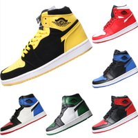 zapatos viejos de goma al por mayor-2019 Do The Old 1 OG Bred All Leather Stitching Mid Top Zapatillas de baloncesto 1s Bred Mix Rubber Sports Skateboard Shoes
