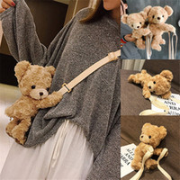 bolsa mini osos de peluche al por mayor-Bear School Bag Baby Girls 30CM Soft Plush Doll Mini Brown Bear Bag Animal Shoulder Bag Niños Niñas Kindergarten Bolso Messenger Bags