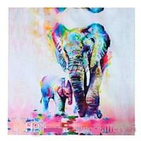 pinturas de casas mediterraneas al por mayor-Elefantes enmarcados, pintado a mano puro decoración casera moderna pintura al óleo del arte animal en la lona de alta calidad. Múltiples tamaños envío libre A021