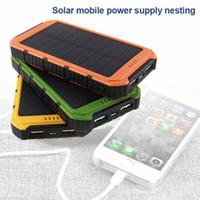 carregador solar portátil para carros venda por atacado-Dual usb 6000 mah banco de energia solar à prova d 'água ao ar livre portátil de viagem esterno carregador de bateria para iphone android telefone haha56