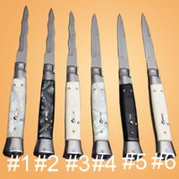 Wholesale best knives for self defense resale online - OEM Best inch Italian mafia knife AUTO acrylic Models Single Action knife Auto knife camping Gift knives for man inch inch
