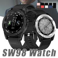 pedometre fitness toptan satış-Yeni Akıllı İzle SW98 Bluetooth Akıllı Izle HD Ekran Motor Smartwatch Android IOS Için Pedometre Kamera Mic Ile PK DZ09 U8 Kutusunda