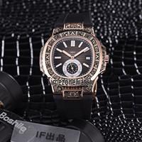 cajas de relojes vintage al por mayor-New Sport Nautilus Rose Gold Steel Vintage Estuche de grabado 5980/1 5980 / 1R-001 Dial azul automático Reloj automático para hombre Relojes con correa de caucho