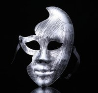 Wholesale pvc mask for sale resale online - new hot sale Lovely Men Burnished Antique Silver Gold Venetian Mardi Gras Masquerade Party Ball Mask GB1021
