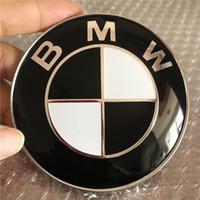 schwarze dekorationsaufkleber großhandel-74mm schwarz haube stamm emblem abzeichen auto aufkleber ersatz für bmw 528i 535i 740i 750i x4 c / w mit 2 pins